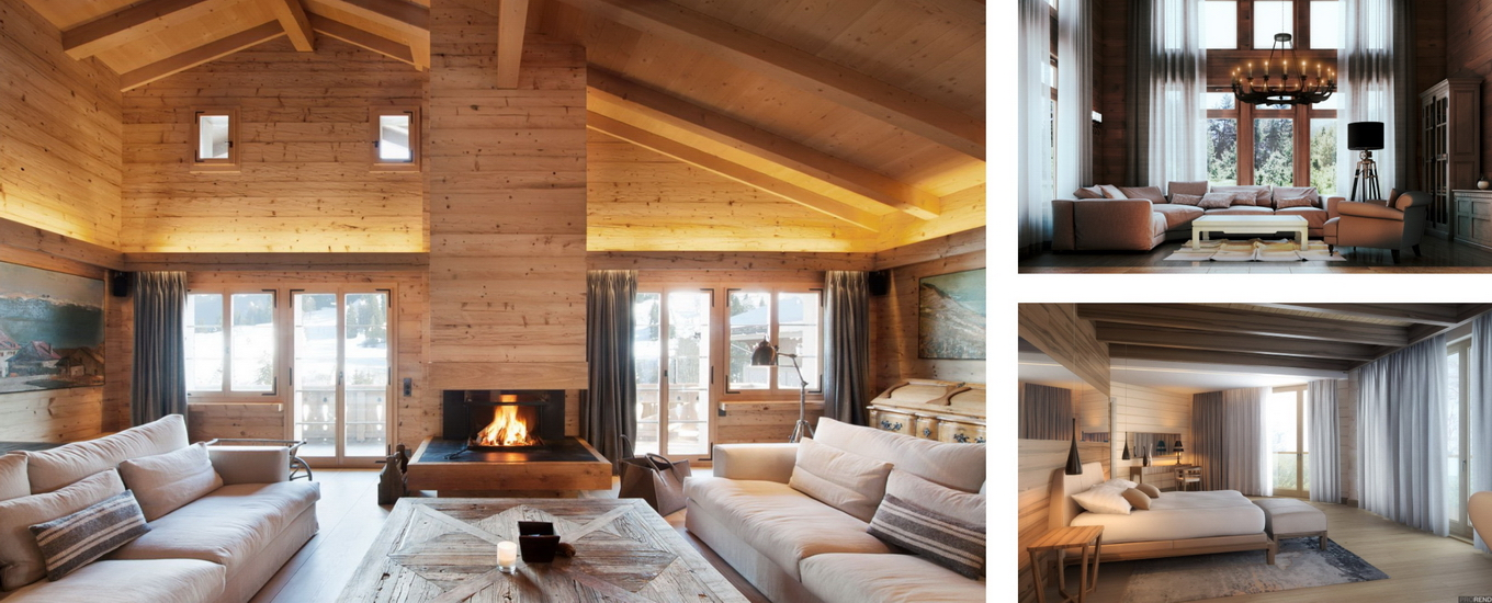 Interior design of wooden houses